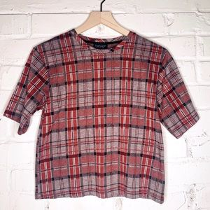 TopShop Plaid Check Short-Sleeve Top